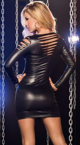 For Dreams - Siyah Deri Lazer Kesim Mini Elbise (1)