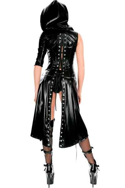 For Dreams - Siyah Lateks Deri Fantezi Kapüşonlu Deri Matrix Kostüm (1)