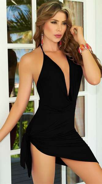 For Dreams - Siyah Seksi Dekolteli Mini Elbise (1)