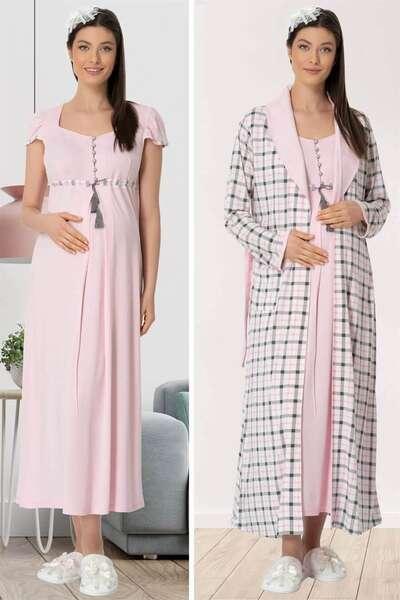 Mecit Pijama - Spor Sabahlıklı Hamile Lohusa Gecelik Takım (1)