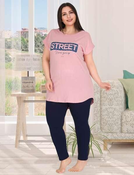 Street Büyük Beden Lacivert Kadın Pijama Takımı