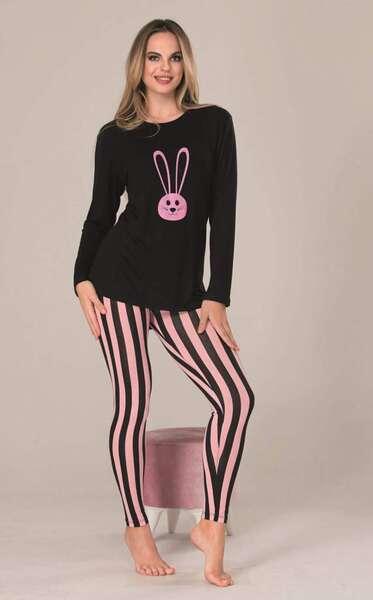 Lady - Uzun Kollu Çizgili Kadın Pijama Takımı (1)