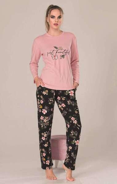 Lady - Uzun Kollu Pembe Desenli Kadın Pijama Takımı (1)