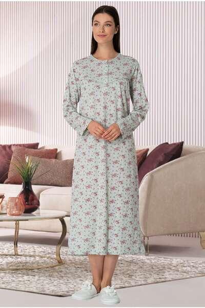 Mecit Pijama - Yeşil Çiçekli Büyük Beden Battal Kadın Gecelik (1)