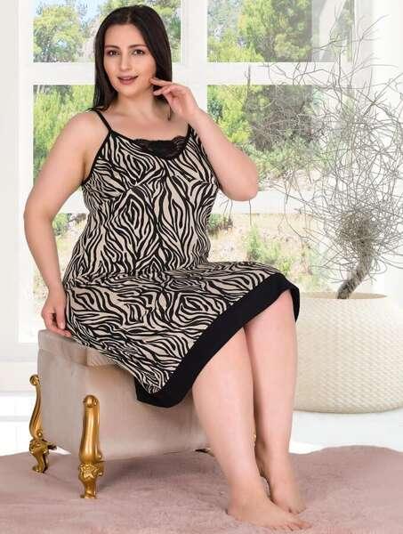 Lady - Zebra Desen Askılı Büyük Beden Gecelik (1)