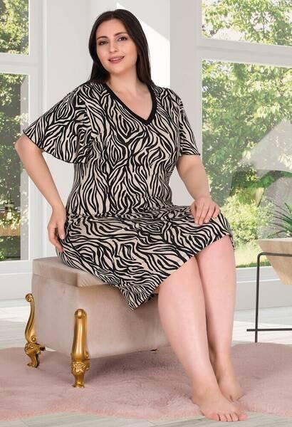 Lady - Zebra Desen Kısa Kollu Büyük Beden Kadın Gecelik (1)